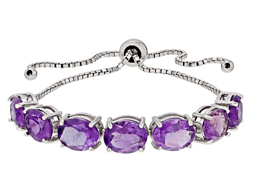 """Photo of 10.15ctw African Amethyst Rhodium Over Sterling Silver Bolo Bracelet Adjusts Approximately 6""""-9"""""""