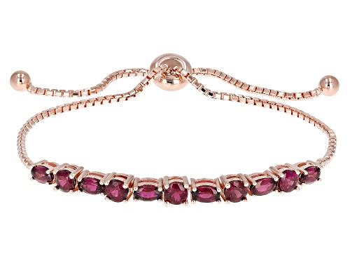 """Photo of 2.81ctw Raspberry Color Rhodolite 18k Rose Gold Over Sterling Silver Bolo Bracelet Adjusts 6""""-9"""""""