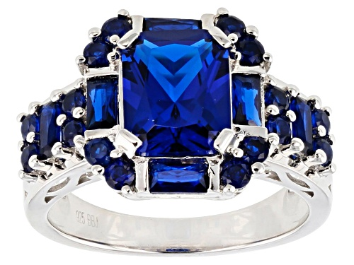 Photo of 3.19ctw Rectangular, Baguette and Round Lab Created Blue Spinel Rhodium Over Silver Ring - Size 9