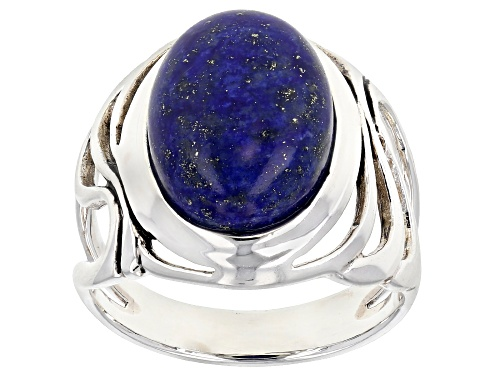 Photo of 14X10MM OVAL CABOCHON LAPIS LAZULI RHODIUM OVER STERLING SILVER SOLITAIRE RING - Size 10