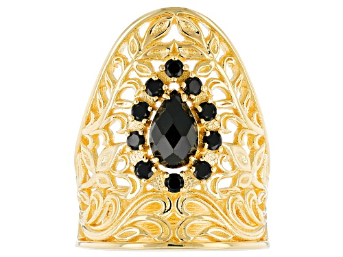 Photo of Artisan Collection Of Turkey™ 1.75ctw Pear Shape And Round Black Spinel 18k Gold Over Silver Ring - Size 6