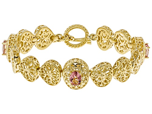 Photo of Artisan Collection of Turkey™ 4.50ct oval morganite color quartz 18k gold over silver bracelet - Size 7.5