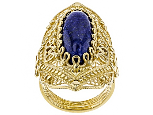 Photo of Artisan Collection of Turkey™ oval cabochon lapis 18k yellow gold over sterling silver ring - Size 5