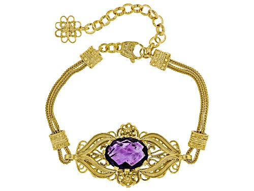 Photo of Artisan Collection of Turkey™ 8.00ct oval amethyst 18k yellow gold over sterling silver bracelet - Size 8