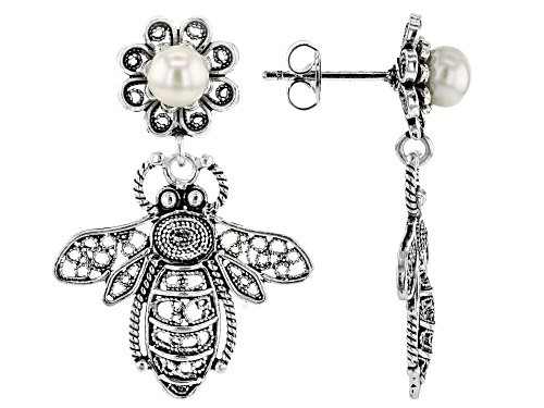 Photo of Artisan Collection of Turkey™ Cultured White Freshwater Pearl Silver Honey Bee Dangle Earrings