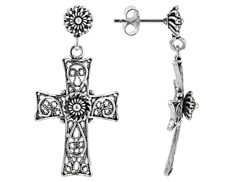 Photo of Artisan Collection of Turkey™ Sterling Silver Filigree Cross Dangle Earrings