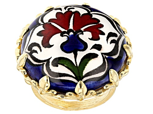 Photo of Artisan Collection of Turkey™ 18K Gold Over Silver Hand Painted Ceramic Chini Carnation Ring - Size 12