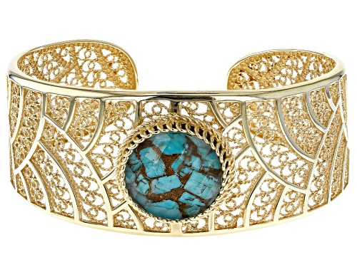 Photo of Artisan Collection of Turkey™ Oval Turquoise Doublet 18k Yellow Gold Over Silver Cuff Bracelet