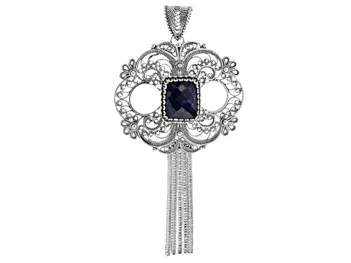 Photo of Artisan Collection Of Turkey™ 4.00ct Rectangular Blue Indian Sapphire Solitaire Tassel Pendant
