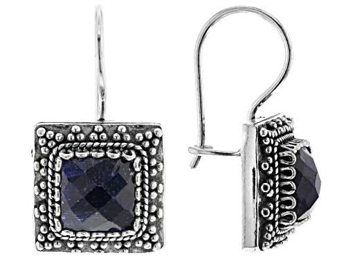 Photo of Artisan Collection of Turkey™ 6.50ctw Square Cushion Blue Sapphire Solitaire Silver Drop Earrings
