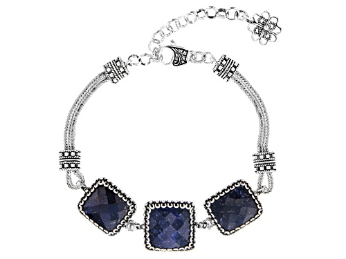 Photo of Artisan Collection of Turkey™ 5.00ctw Square & Rectangular Blue Sapphire 3-Stone Silver Bracelet - Size 6.5