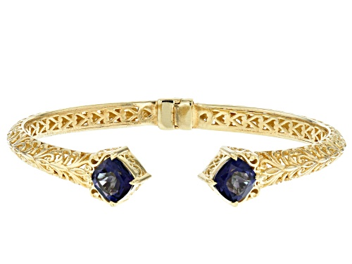 Photo of Artisan Collection of Turkey™2.20ctw Cavalier Tanzanite™Color Quartz 18k Gold Over Silver Cuff - Size 7.5