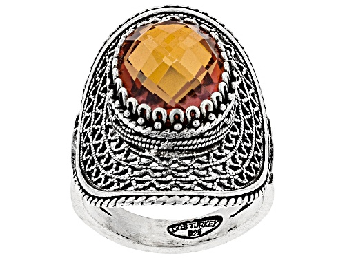 Photo of Artisan Collection of Turkey™ 6.00ct Criss-Cross Cut Oval Orange Quartz Solitaire Silver Ring - Size 7