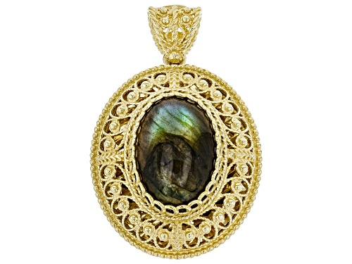 Photo of Artisan Collection Of Turkey™ 18x14mm Oval Labradorite 18K Yellow Gold Over Silver Pendant