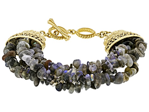 Photo of Artisan Collection Of Turkey™ Free-Form Labradorite Nugget 18K Gold Over Silver 4-Strand Bracelet - Size 8.5