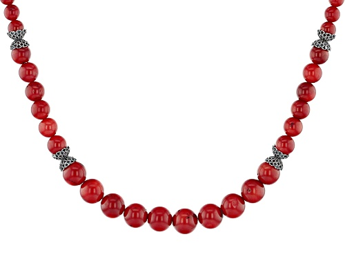 Photo of Artisan Collection Of Turkey™ Graduated 6-10mm Round Red Coral Sterling Silver Bead Necklace - Size 19