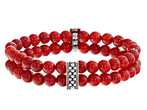 Photo of Artisan Collection Of Turkey™ 6mm Round Red Coral Sterling Silver Bed Double Strand Stretch Bracelet