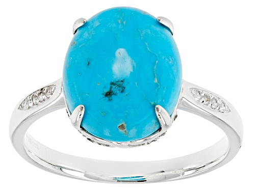 Photo of Tehya Oyama Turquoise™ Oval Sleeping Beauty Turquoise, .09ctw Round White Topaz Silver Ring - Size 12