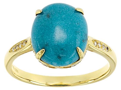 Photo of Tehya Oyama Turquoise™ Sleeping Beauty Turquoise & .09ctw White Topaz 18k Gold Over Silver Ring - Size 10