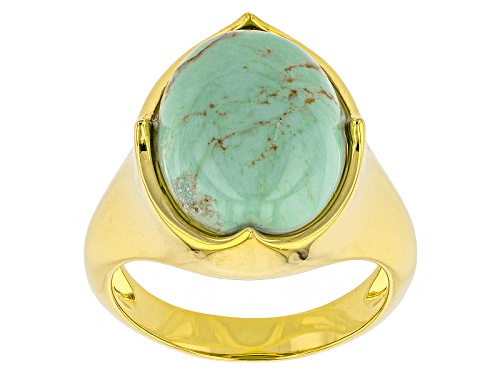 Photo of Tehya Oyama Turquoise™ 16x12mm Oval Kingman Blue Turquoise 18k Gold Over Brass Ring - Size 7