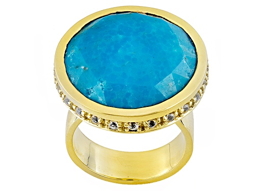 Photo of Tehya Oyama Turquoise™ Round Kingman Turquoise W/ .07ctw White Topaz 18k Gold Over Brass Ring - Size 6