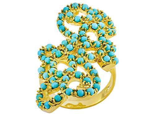Photo of Tehya Oyama Turquoise™ 2mm Round Sleeping Beauty Turquoise 18k Yellow Gold Over Brass Ring - Size 8