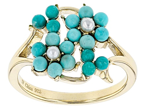 Tehya Oyama Turquoise™ Turquoise And Cultured White  Freshwater Pearl 18k Gold Over Silver Ring - Size 12