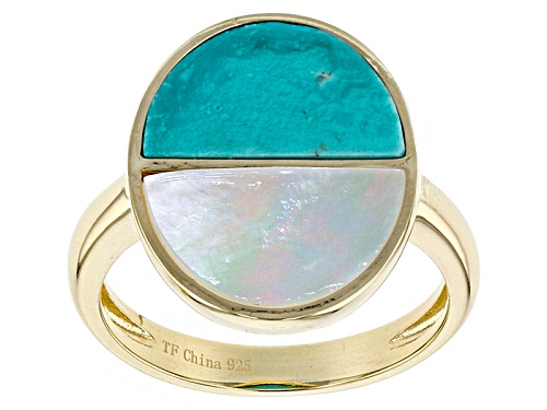 Photo of Tehya Oyama Turquoise™ Crescent Shape Turquoise And Mother Of Pearl 18k Gold Over Silver Ring - Size 11