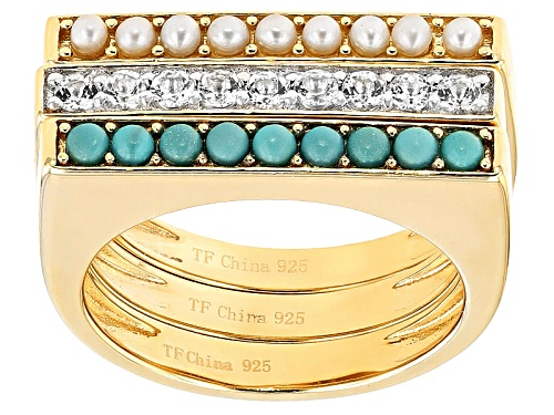 Photo of Tehya Oyama Turquoise™Turquoise, Cultured Freshwater Pearl,White Topaz 18k Gold Over Silver Rings - Size 9