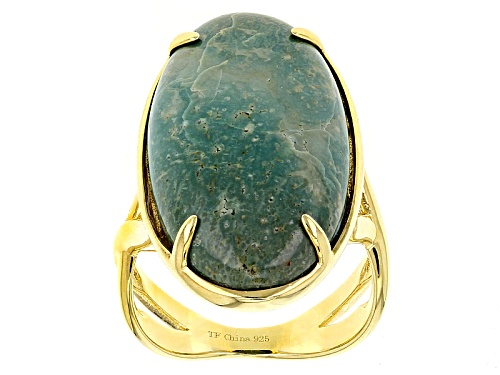 Photo of Tehya Oyama Turquoise™ Oval Cabochon Green Kingman Turquoise 18k Gold Over Silver Ring - Size 4
