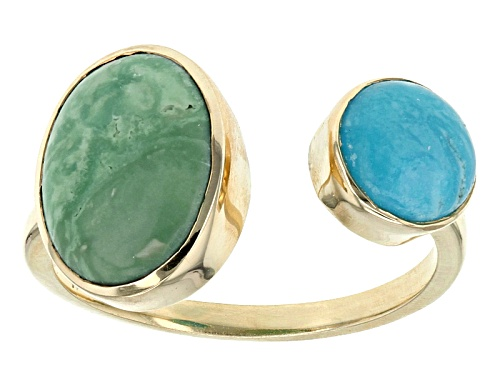 Photo of Round Blue And Oval Green Kingman Turquoise 18k Gold Over Silver Ring - Size 8