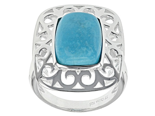Photo of Tehya Oyama Turquoise™ 14x10mm Square Cushion Sleeping Beauty Turquoise Sterling Silver Ring - Size 5