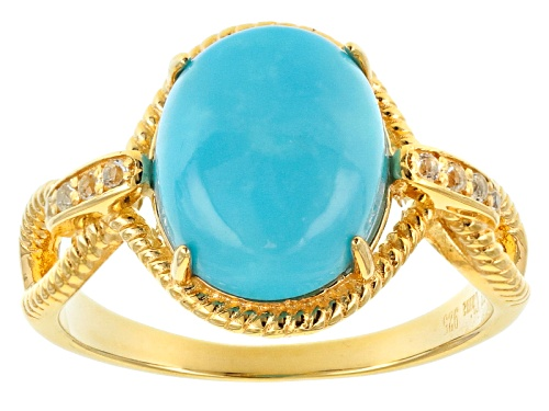 Photo of Tehya Oyama Turquoise™ Sleeping Beauty Turquoise & .11ctw White Topaz 18k Gold Over Silver Ring - Size 12