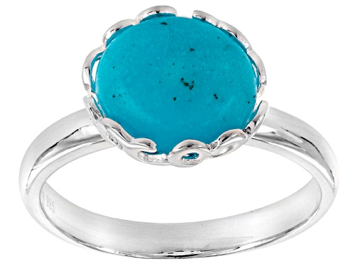 Photo of Tehya Oyama Turquoise™ 11x8mm Oval Sleeping Beauty Turquoise Nugget Silver Solitaire Ring - Size 9