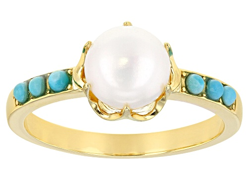 Photo of Tehya Oyama™ Cultured Freshwater Pearl And Sleeping Beauty Turquoise 18k Gold Over Silver Ring - Size 11