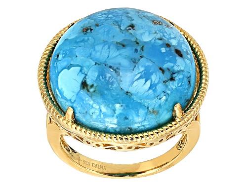 Photo of Tehya Oyama Turquoise™ 20mm Round Cabochon Arizona Turquoise 18k Gold Over Silver Ring - Size 4