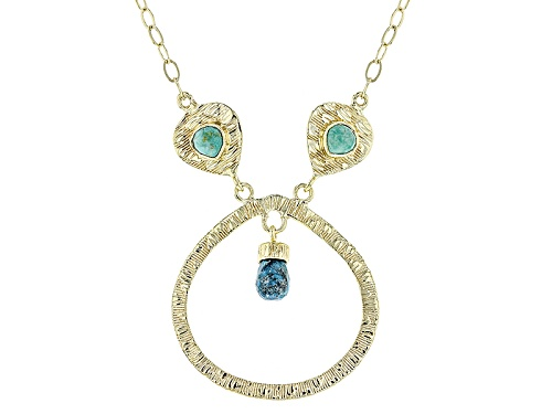 Photo of Tehya Oyama Turquoise™ Green And Blue Kingman Turquoise 18k Gold Over Silver Textured Necklace - Size 22