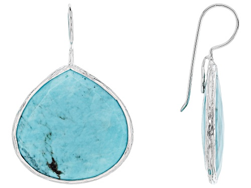 Photo of Tehya Oyama Turquoise™ Pear Shape Blue Kingman Turquoise Sterling Silver Drop Earrings