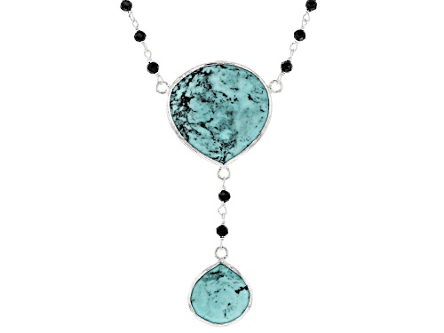 Photo of Tehya Oyama Turquoise™ Blue Kingman Turquoise And 7.20ctw Black Spinel Bead Silver Drop Necklace - Size 18