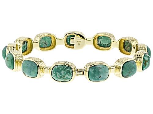 Photo of Tehya Oyama Turquoise™ 10x8mm Green Kingman Turquoise 18k Gold Over Silver Bangle Bracelet - Size 8
