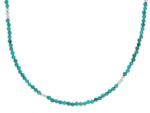 Photo of Tehya Oyama Turquoise™ 2-3.5mm Round Sleeping Beauty Turquoise Sterling Silver Bead Necklace - Size 22
