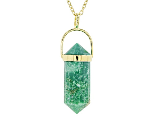 Photo of Tehya Oyama Turquoise™ 26x10mm Green Kingman Turquoise 18k Gold Over Silver Pendant With Chain