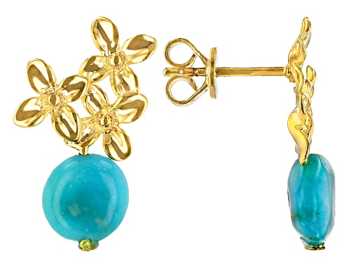 Photo of Tehya Oyama Turquoise™ Sleeping Beauty Turquoise Nugget 18k Gold Over Silver Floral Earrings