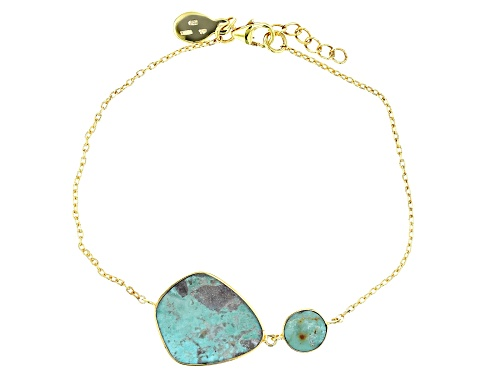 Tehya Oyama Turquoise™ Round and Fancy Shape Green Kingman Turquoise 18k Gold Over Silver Bracelet - Size 7.5