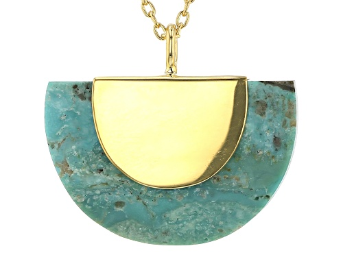 Photo of Tehya Oyama Turquoise™ Green Kingman Turquoise 18k Gold Over Silver Pendant With Chain