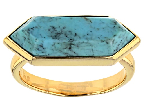 Photo of Tehya Oyama Turquoise™  21x8mm Hexagonal Blue Kingman Turquoise 18k Gold Over Silver Ring - Size 4