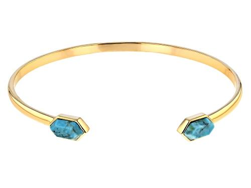 Photo of Tehya Oyama Turquoise™ 11x6mm Hexagonal Blue Kingman Turquoise 18k Gold Over Silver Bracelet - Size 8