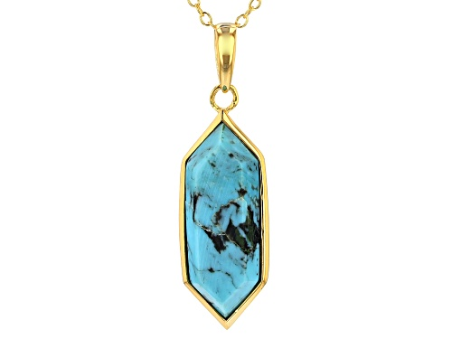 Photo of Tehya Oyama Turquoise™ 20x7mm Blue Kingman Turquoise 18k Gold Over Silver Pendant With Chain