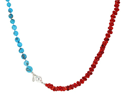 Photo of Tehya Oyama Turquoise™ Sleeping Beauty Turquoise And Coral Bead Silver Necklace - Size 20