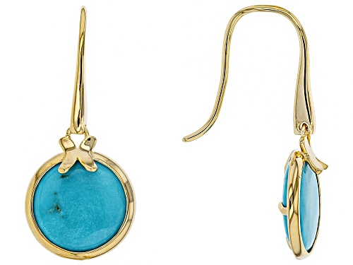 Photo of Tehya Oyama Turquoise™ 12mm Round Sleeping Beauty Turquoise 18k Gold Over Silver Earrings